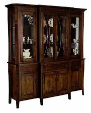"Amish China Cabinet Dining Room Hutch Traditional Candice Leaded Glass Wood 72""W"