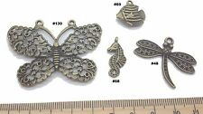 Butterfly fish Antique Bronze Verdigris Patina Alloy Charms Vintage Mixed Media