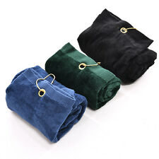 40x60cm Golf Tri-Fold Towel With Carabiner Clip Sport Hiking Cotton Cool CHCA