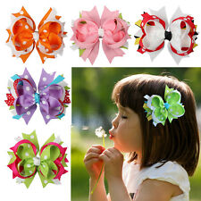 4'' Boutique Girls Baby Toddler Kids Grosgrain Hair Bow Clips Hair Accessorie