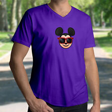 Disney Cool Sunglasses Shades Cute Mickey Mouse Emoji Mens Unisex V-Neck T-Shirt
