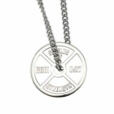 Men's Stainless Steel Weight Plate Necklace-Romans 8:37 ®®2013, ©2013