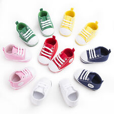 Newborn Baby Infant Toddler Crib Unisex Sneakers Soft Sole Shoes Canvas Non-slip