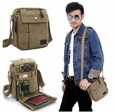 Men's Vintage Canvas Leather Satchel Shoulder Bag Messenger School Military Bag