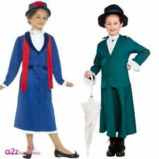 Girls Victorian Nanny Mary Poppins Book Day Kids Fancy Dress Costume Outfit