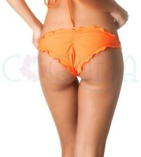 COQUETA ruffles bottom swimwear Brazilian Bikini Hipster ripple ALLURE ORANGE