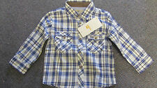 Mayoral Baby Boys Blue/ Brown & Cream Checked Shirt Size 12 Mths BNWT