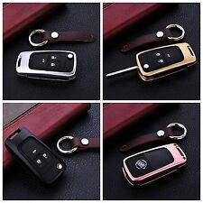 Car Key Fob Cover For Chevrolet Remote Aluminum Case Genuine Leather Key Chain