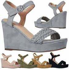 Nadine Womens High Heels Wedges Peep Toe Ankle Strap Sandals Ladies Shoes Size