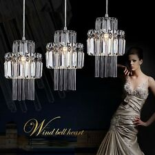Modern Crystal Chandelier Pendant Light Glass Bar Stripe 3 Lights Entry Living