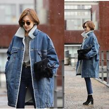 Women Fleece Denim Jacket Winter Thicken Warm Fur Lining Parka Long Coat Outwear