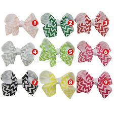 "3.5"" Hair Bow Clips Boutique Girl Baby Chevron Grosgrain Ribbon Hair Accessorie"