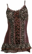 NWT Pretty Angel Clothing Archer Lace Up Camisole Top In Coffee 60156 66366
