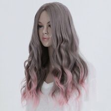 Full Long Curly Hair Style Wigs Cosplay Party Costume Wigs Gray And Pink JRE