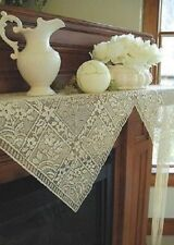 Heritage Lace Chantilly Fringed Mantel Scarf White and Ivory/Cream