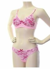 WOMEN'S WIRELESS WIRE FREE BRA AND PANTY SET, LACE FRONT, 34B - 38C & 40C, NWT!