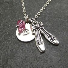 Personalize Ballet Slippers Necklace made with Swarovski Birthstone Custom Charm