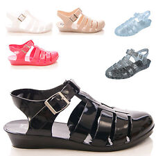 NEW LADIES WOMEN SUMMER WEDGE JELLIES SANDAL BEACH STYLE CASUAL SHOES SIZE 3-8