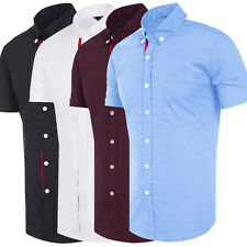 Luxury Men Casual Dress Shirt Business Cotton Short Sleeve Stylish Slim Fit Tops