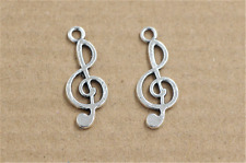 15/60/300pcs Tibetan Silver Bulk Big Hole Music notation European Charms 9x24mm