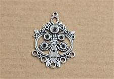 3/15/60pcs Tibetan Silver Lovely owl Connector Jewelry Charms Pendant 31x36mm