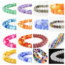 Colorful Matte Fire Crackle Agate Gemstone Round Loose Spacer Beads 15''  Strand