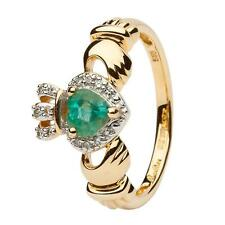 Ladies 14K Yellow Gold Claddagh Ring Emerald & Diamond 14l82 All Sizes