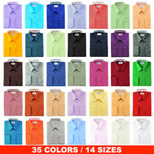 NEW BERLIONI ITALY MEN'S FRENCH CONVERTIBLE CUFF SOLID COLORS DRESS SHIRTS