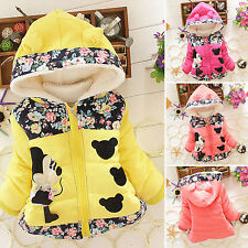 Kids Baby Girls Cartoon Minnie Winter Hooded Hoodies Jacket Coat Outerwear 1-5Y