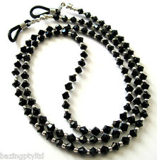 Black Crystal Glasses Sunglasses Spectacles Specs Eyeglass Cord Chain Holder