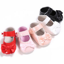 Newborn Baby Girl Bow Anti-slip Leather Crib Shoes Soft Sole Sneakers Prewalker