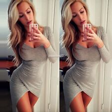 Women Bandage Bodycon Long Sleeve Evening Sexy Party Cocktail Mini Dress FT