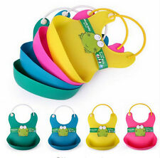 Cute Baby Soft Silicone Bib Waterproof Saliva Dripping Kid Infant Lunch Bibs TC