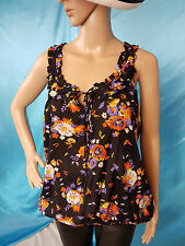 New Look Womens Top Blouse Black Red Floral UK12 NEW