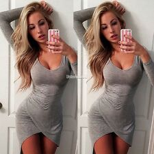 Women Sexy Long Sleeve Bodycon Casual Party Evening Cocktail Short Mini Dress FT