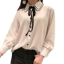 Japan Sweet Girl Slim Lace Blouse Chiffon Shirt Women Cute Doll Collar Tops 2017