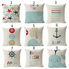 Sea Graphical Plants Cushion Covers Cotton Linen Throw Pillow Case