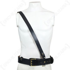 British Army Black SAM BROWNE LEATHER BELT with CROSS STRAP Brass - All Sizes