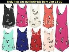 Womens Chiffon Butterfly Dip Hem Print Lined Sleeveless Vest Top plus size 14-30