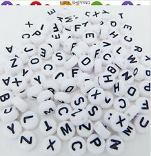 50 pcs 3×7mm Acrylic Individual Alphabet Letter Coin Round Flat Spacer Beads
