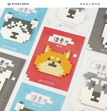 Cute Pixel Dog Bull Terrier Husky Schnauzer Shiba Inu Memo Sticky Note Post-it