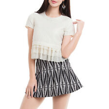 Womens White Tulle Patchwork Crop Top Basic Short Sleeve T-shirt Casual Blouse