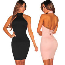 Sexy Women Backless Clubwear Bodycon Mini Dress Halter Party Cocktail Evening