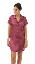 Ladies Satin Nightshirts/Nightdress Buttoned Through Mulberry Size 10 - 22