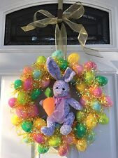 Spring Easter Bunny Wreath w/Gold Ribbon - Handmade - Made to Order!