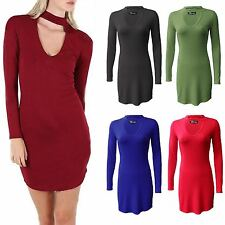 New women Long Sleeve V Choker Neck Ladies Tunic Body Con Top Dress Plus Size