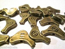 10/20/50 x  BRONZE tone Small Cute Bird Spacer Beads  15mm x 11mm Nickel free