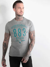 883 Police Mens Kanos Marl Grey Crew Neck Short Sleeve Graphic T-Shirt Tee Top