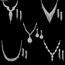 Bridal Wedding Jewelry Set Crystal Fashion Statement Necklace Earrings Womens