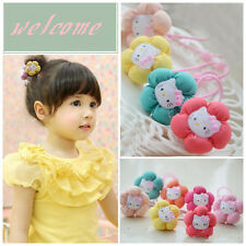 10pcs/lot Flower & Cat Kids Baby Girls Elastic Hair Ties Bands Rope Accessories